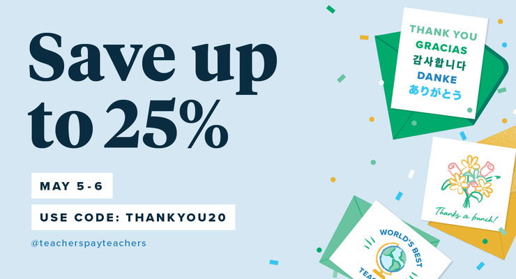 Don't miss 25% off my entire Teachers Pay Teachers store. Use THANKYOU20 at checkout.