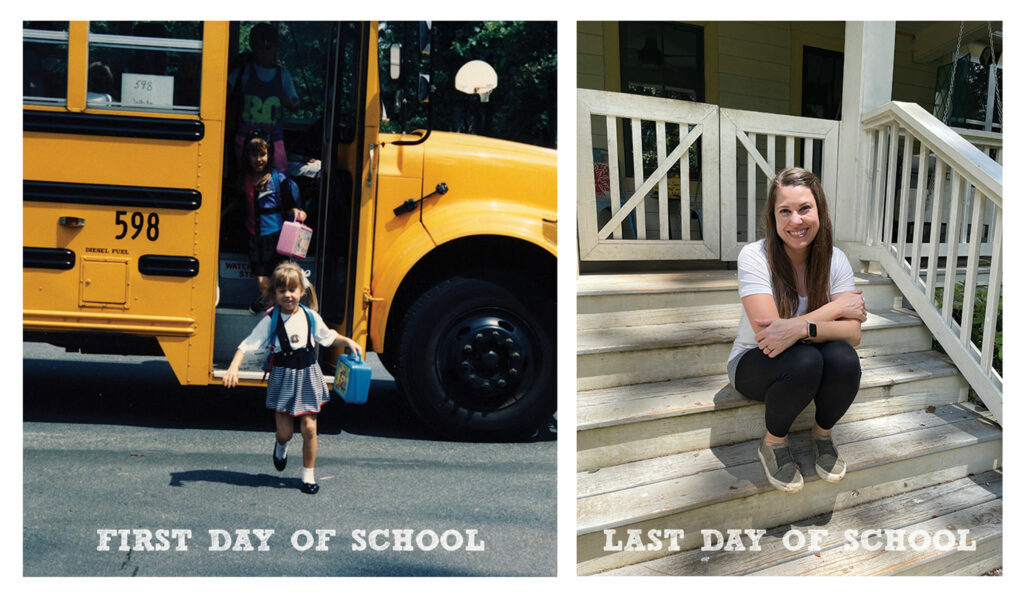 A picture of my first day of school and last day of school.