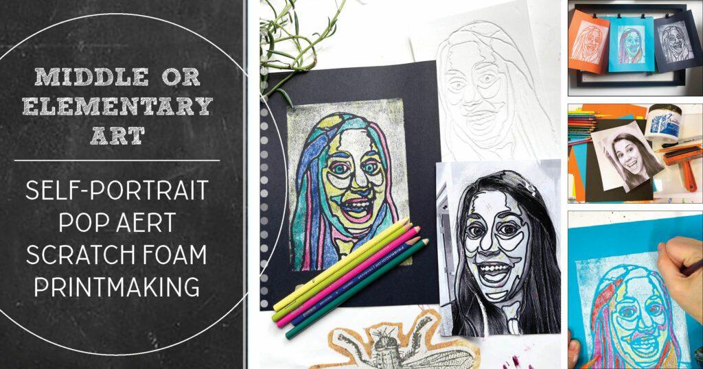 Self-portrait printmaking project